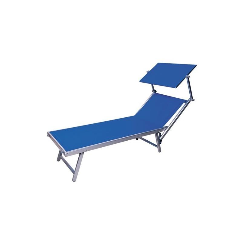 Sdraio Lettino Mare Alluminio Texilene Blu