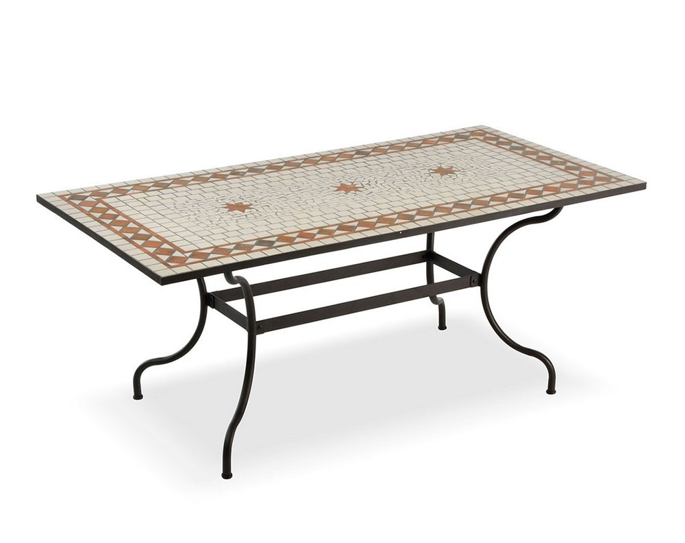 Tavolo da giardino in ferro battuto piano mosaico - Tavoli ferro battuto da esterno ...