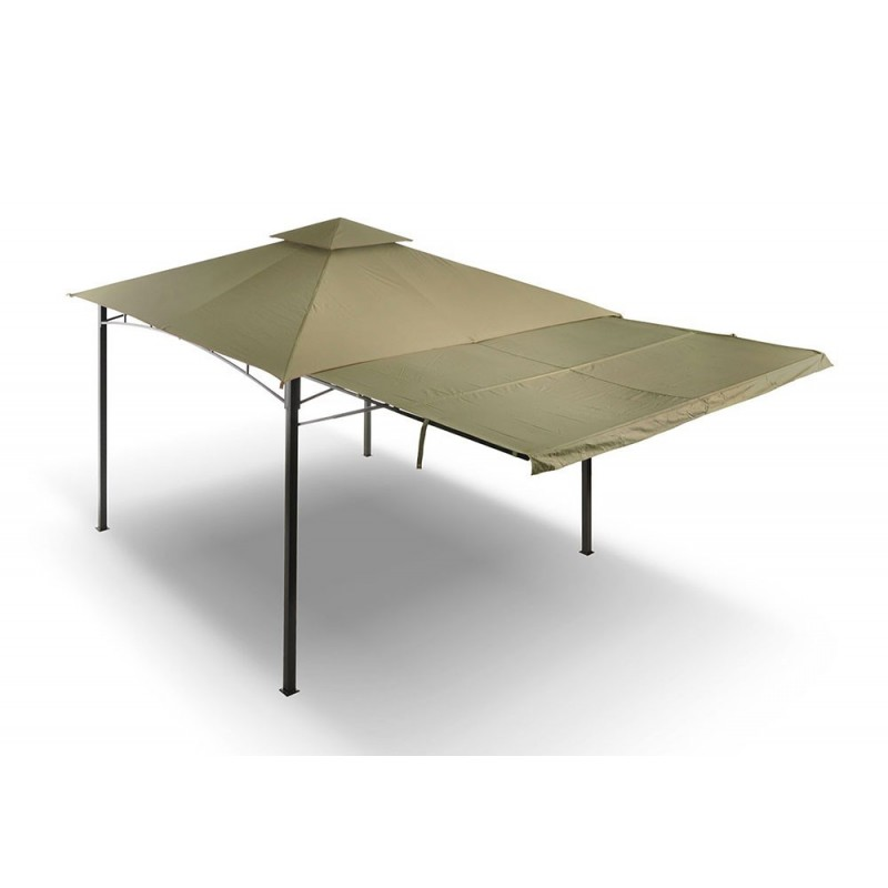 Gazebo ibicus acciaio ecru con tettoia e cappa