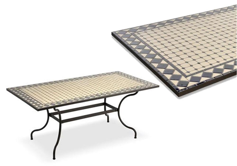 Tavolo norwich rettangolare in ferro battuto con piano in ceramica