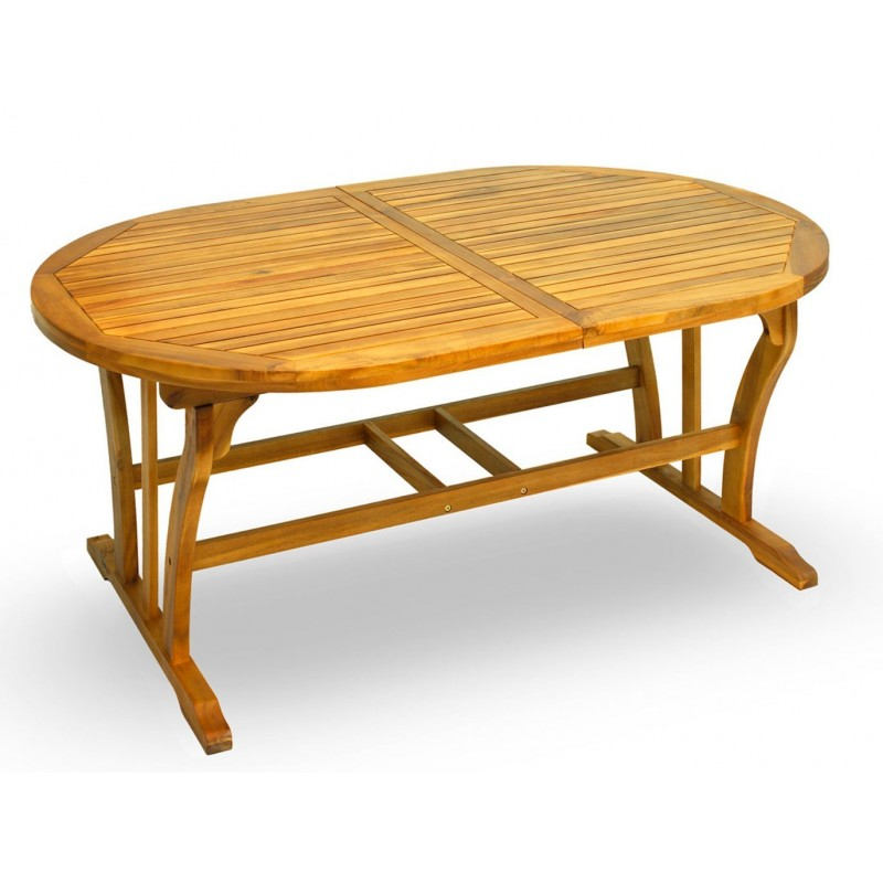 Tavolo ovale acacia apertura sincronizzata
