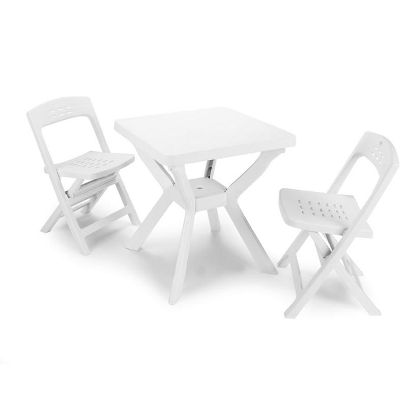 Set Bistro Bianco con Tavolo Reno Quadrato 70x72 + 2 Sedie Derby Pieghevoli