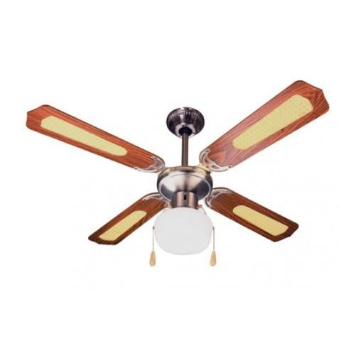 Ventilatore soffitto 106cm 4 pale marrone con luce centrale