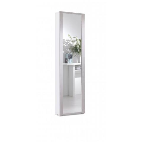 Mobile/scarpiera bianco 1 anta a specchio 7 ripiani larice