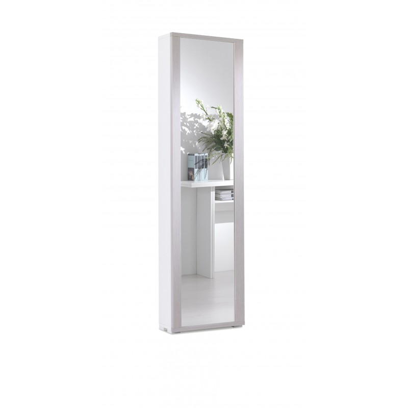 Mobile Scarpiera Bianco con 1 Anta a Specchio e 7 Ripiani Color Larice