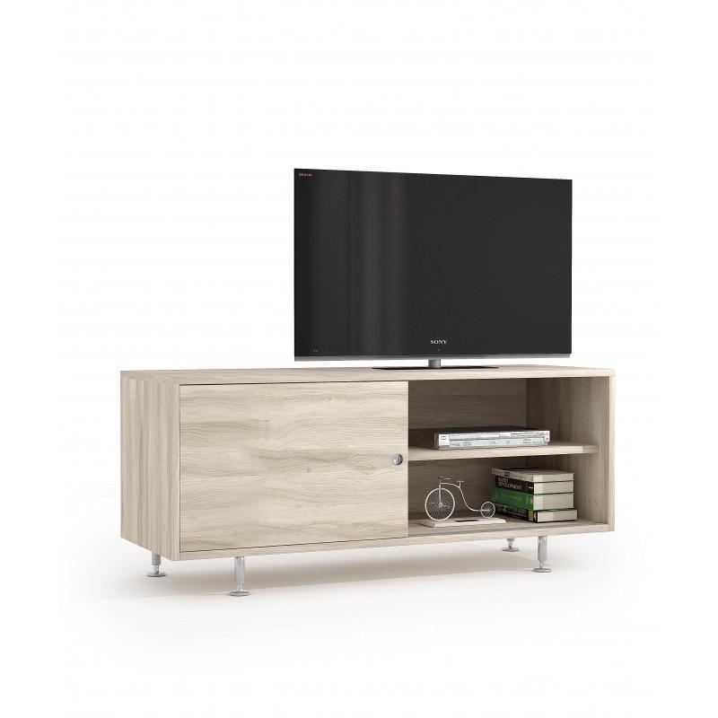 Mobile Tv Con Ante Scorrevoli.Mobile Living Con Anta Scorrevole E 2 Ripiani Interni Colore Olmo