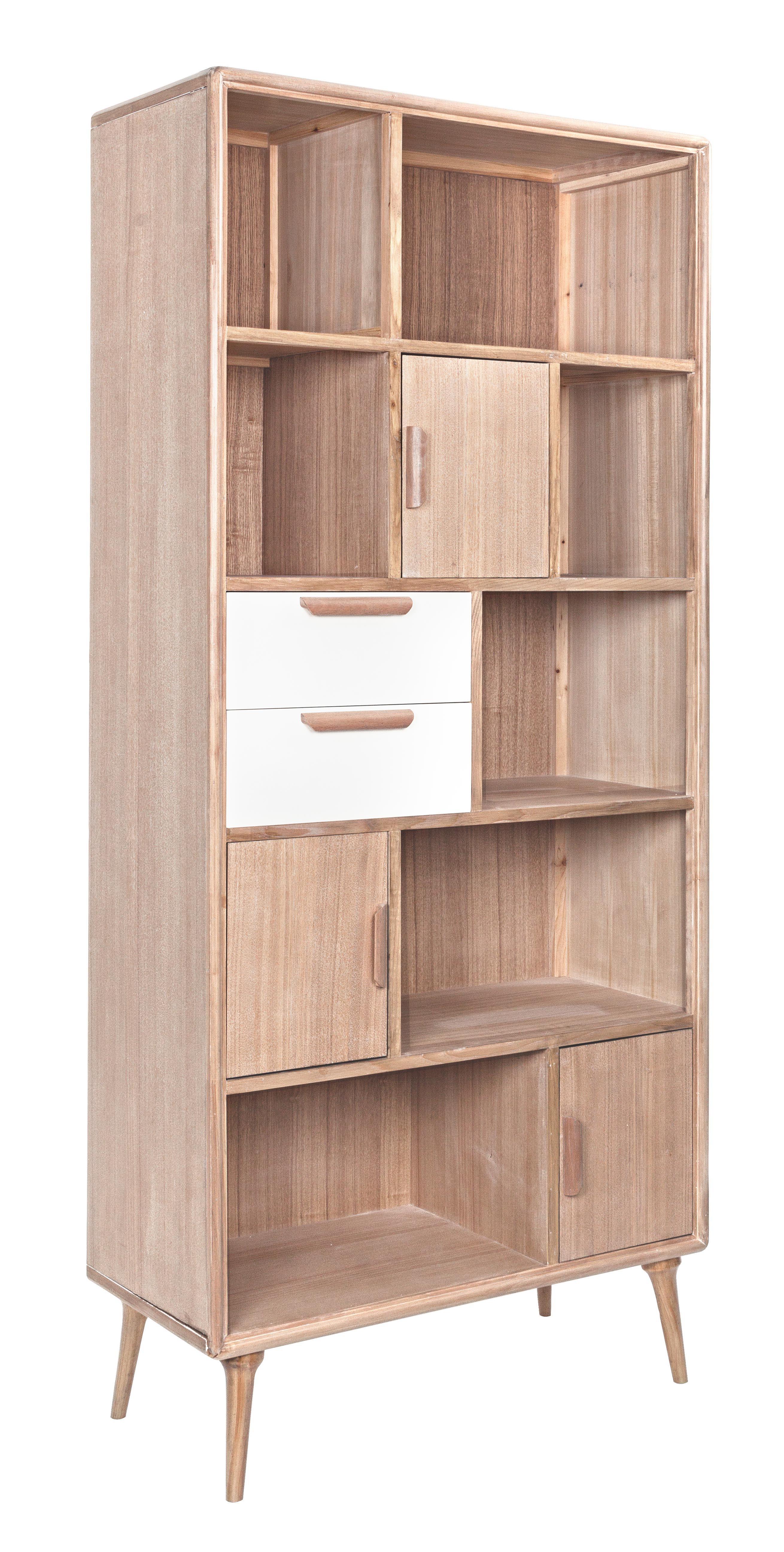 Libreria brigitte 3 ante 2 cassetti in legno