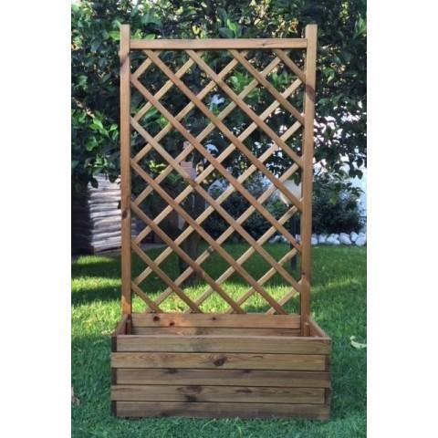 Fioriera rettangolare con grigliato 90x40x170cm in legno impregnato