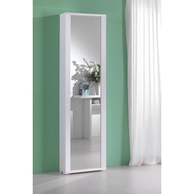 Mobile Scarpiera 1 Anta a Specchio con 7 Ripiani Color Bianco