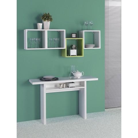 Tavolo consolle allungabile Oplà in MDF colore bianco