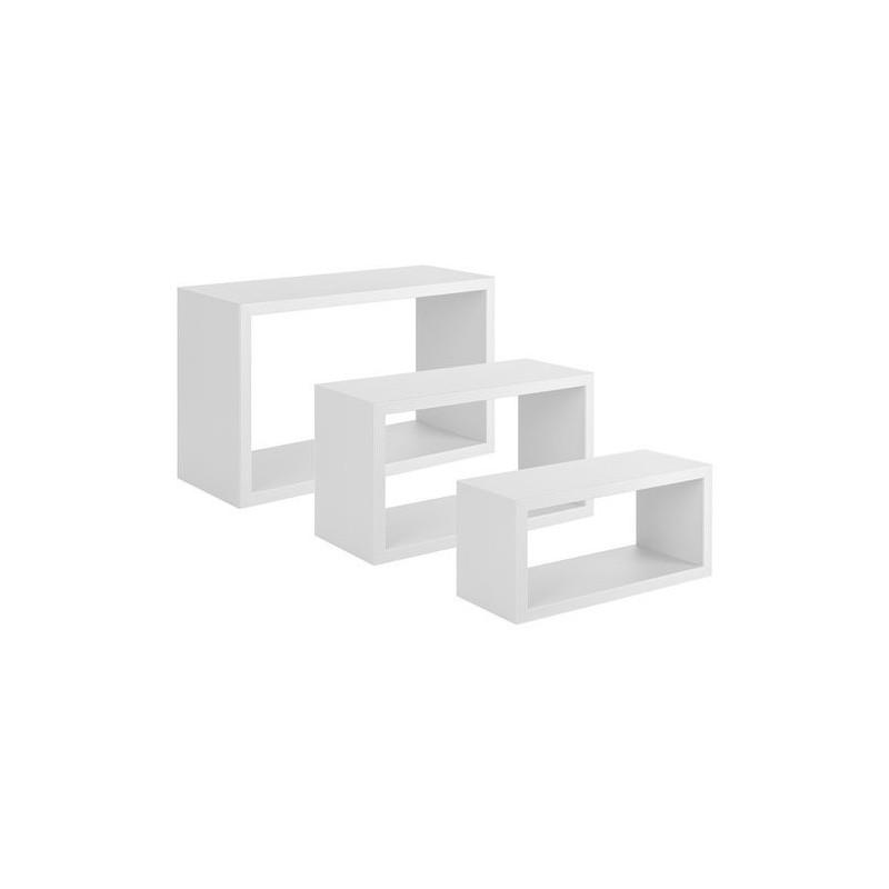 Trittico mensole da parete bianco for Mensole a cubo ikea