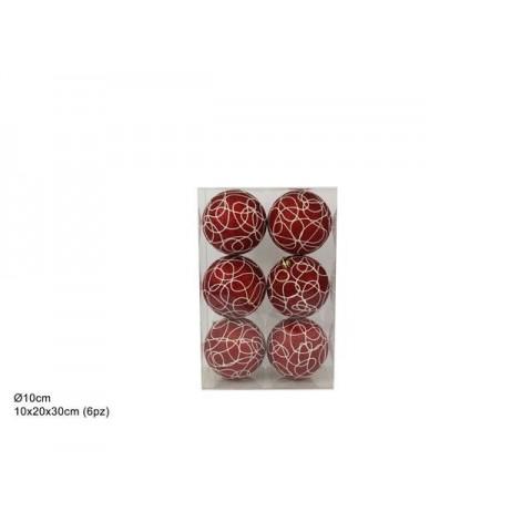 Decorazione palle di natale 8pz rosso
