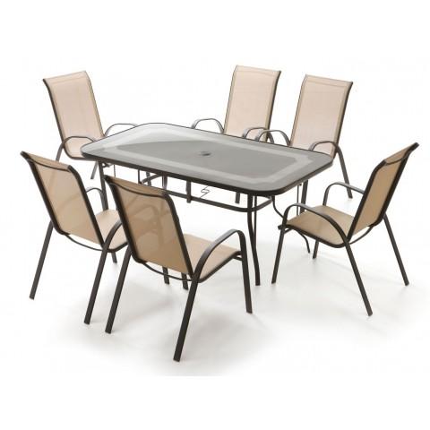 Set Topazio tavolo piano vetro + 6 poltrone