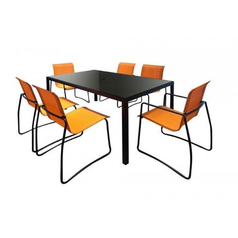 Set Riga tavolo piano vetro + 6 sedie