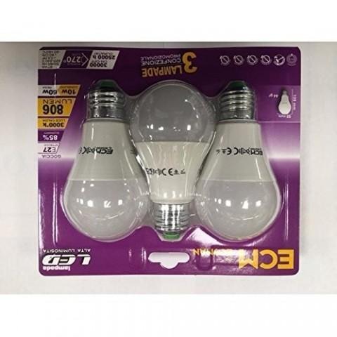 Blister 3 Goccia Lampadine LED 10W 3000K e27