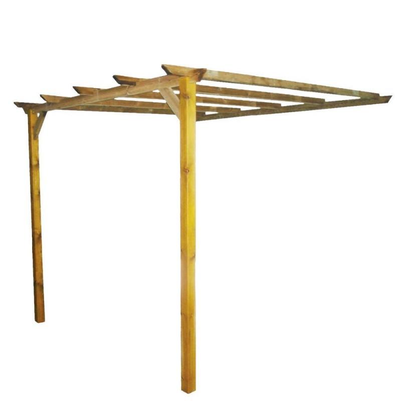 Pergola addossata in legno impregnato