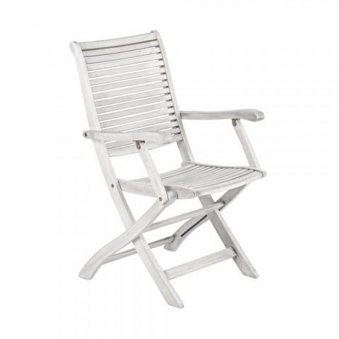 Sedia acacia pieghevole grigio chiaro con braccioli