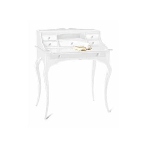 Scrittoio 6 cassetti bianco in legno massello