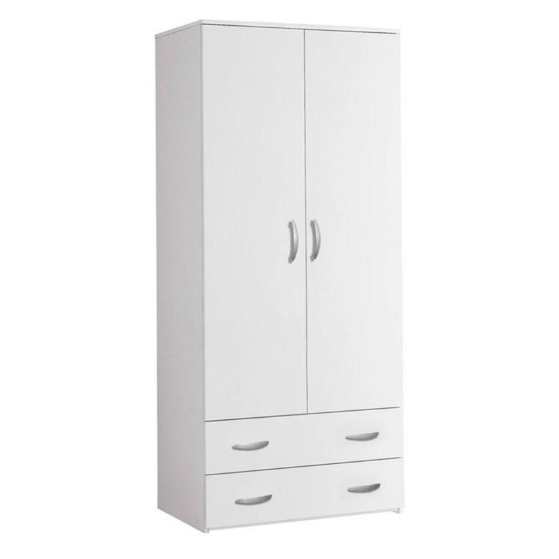 Armadio 2 ante e 2 cassetti in legno colore bianco