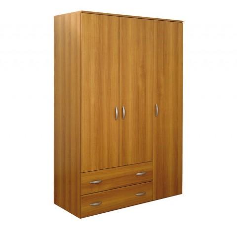 Armadio 3 ante + 2 cassetti noce madera