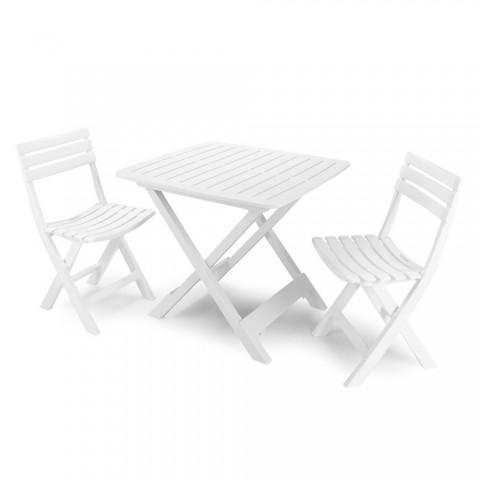 Set Camping 2 sedie + 1 tavolo in Resina Bianco