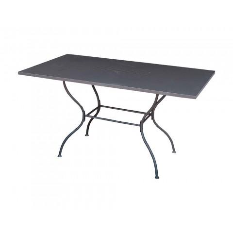 Tavolo Martina rettangolare in ferro battuto grigio