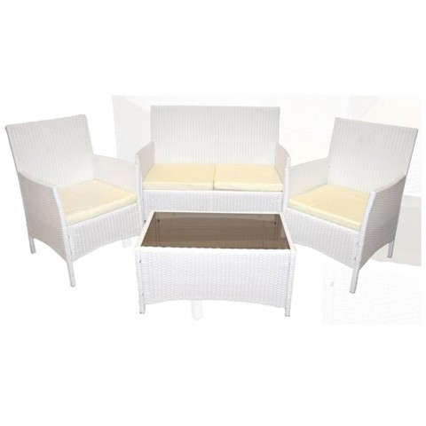Salotto bianco da giardino wicker