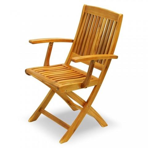 Sedia pieghevole in Acacia con braccioli