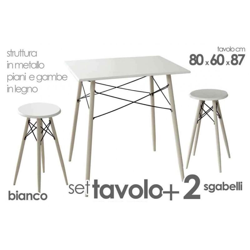 Set Tavolo E Sgabelli.Set Tavolo 2 Sgabelli Lyno