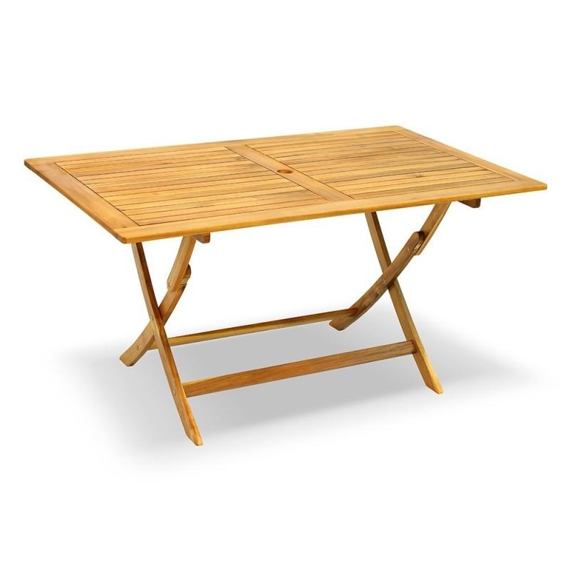 Tavolo rettangolare pieghevole in acacia 150x90x74 cm