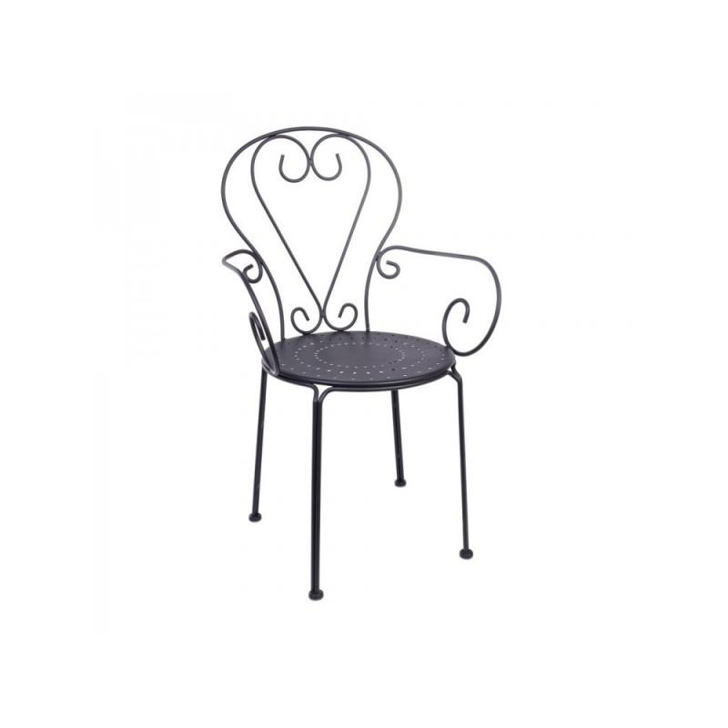 Sedia Etienne con braccioli ferro battuto grigio scuro