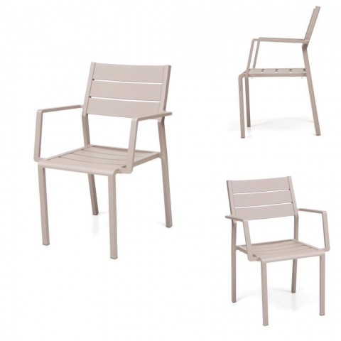 Sedia Grace impilabile con braccioli alluminio Tortora