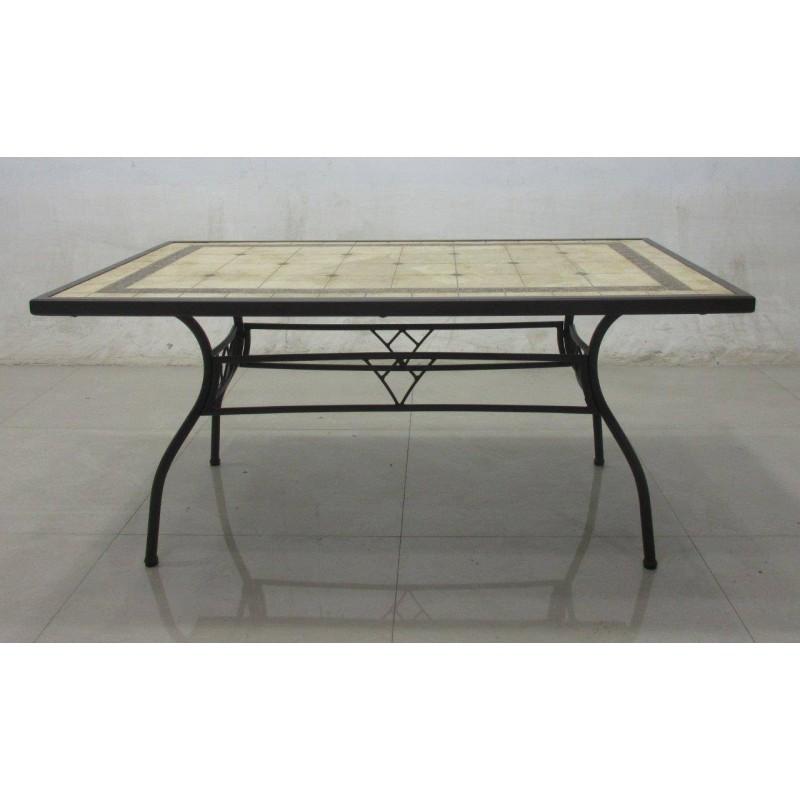 Tavolo kingston con mosaico in ferro battuto rettangolare - Tavoli da esterno in ferro ...