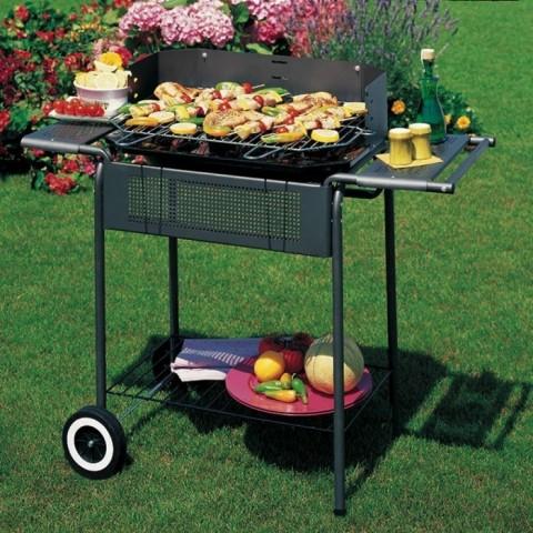 Barbecue a carbonella/legna con ruote