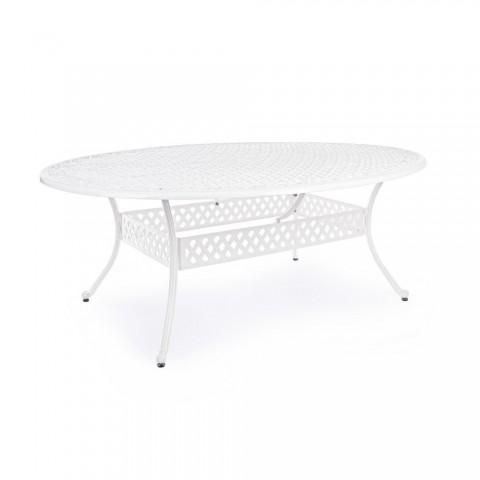 Tavolo Bizzotto Ivrea Ovale in Alluminio Bianco