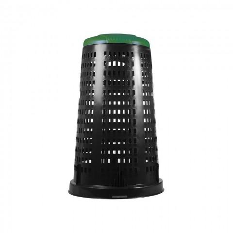 Bidone bobby in plastica verde 100 litri con coperchio