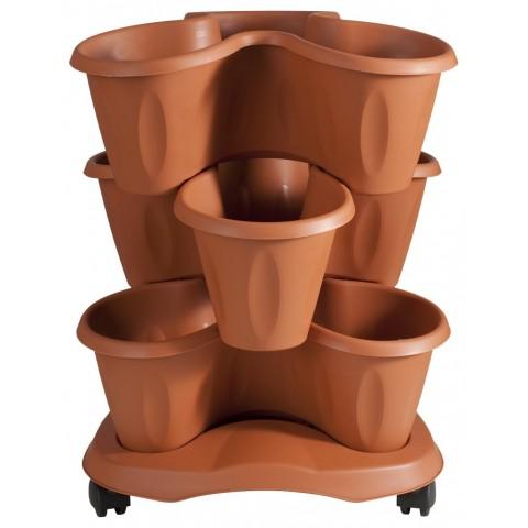 Set 3 vasi trifoglio D40XH51 con sottovaso colore terracotta