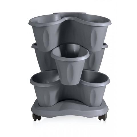 Set 3 vasi trifoglio D40XH51 con sottovaso colore grigio