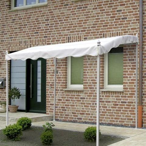 Gazebo Pergola 2x3 in acciaio bianco con copertura