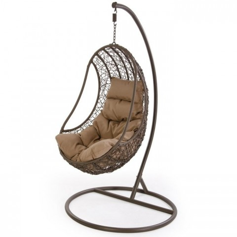 Poltrona sospesa in rattan in wicker marrone
