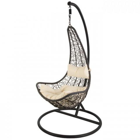 Poltrona sospesa in rattan in wicker nero