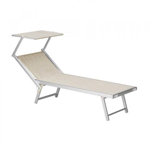 Lettino Deluxe Alluminio + Textilene con parasole Beige