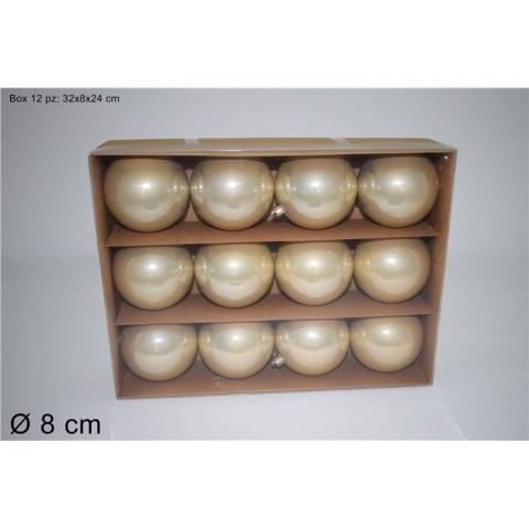 BOX 12PALLE 8CM PERLATE CHAMPAGNE