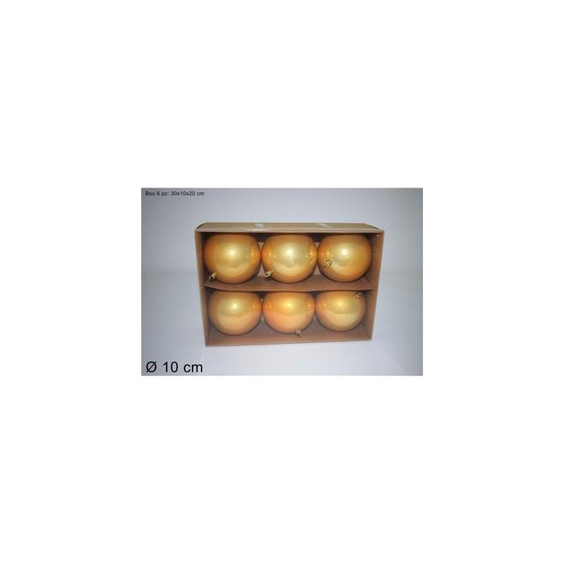 Box 6 pz palline 10cm Perlate Colore Oro