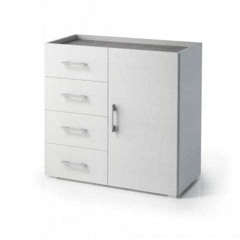 Mobile cassettiera 4 cassetti 1 anta effetto cemento arredamento casa design