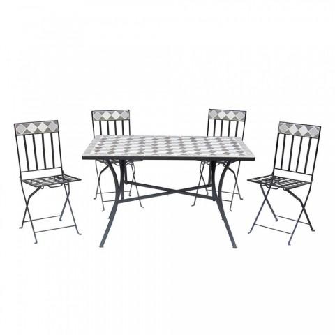 Set Panarea tavolo rettangolare + 4 sedie pieghevoli mosaico in ferro battuto