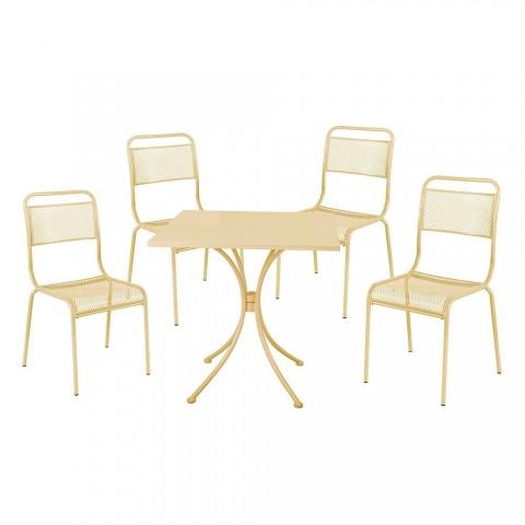 Set Ocean Tavolo + 4 sedie da giardino in acciaio crema
