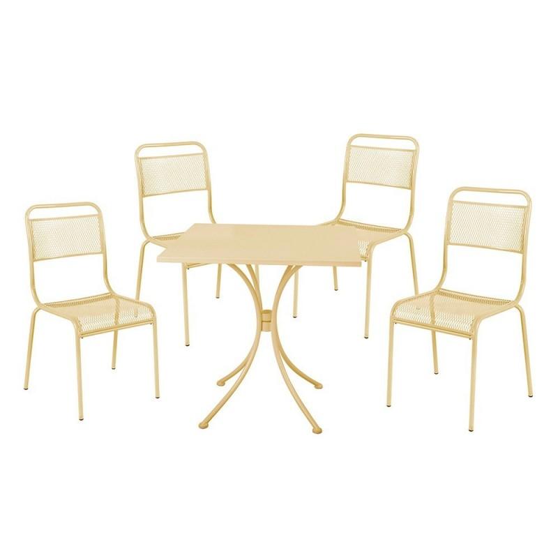 Set Sedie Da Giardino.Set Ocean Tavolo 4 Sedie Da Giardino In Acciaio Crema