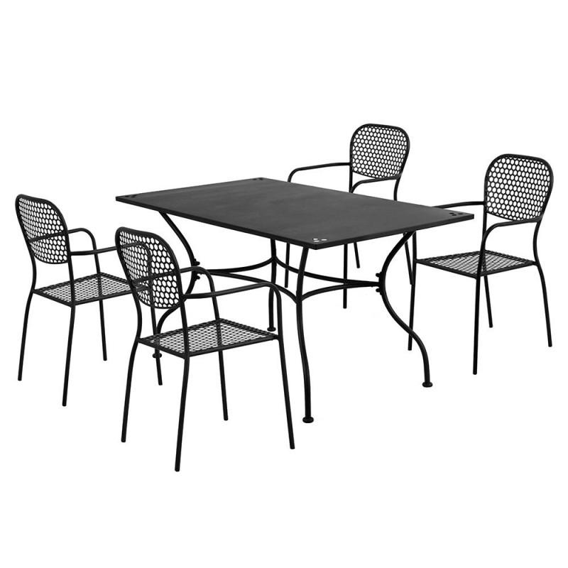 Set Perugia tavolo + 4 sedie da esterno antracite in acciaio