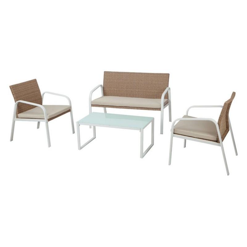 Salotto Madeira polirattan 2 poltrone divano tavolino cuscini beige
